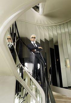 Karl Lagerfeld self portrait (CHANEL famous staircase). Karl Lagerfeld Choupette, Coco Chanel, Chanel Paris, Fendi, Gucci, Ralph Lauren, Carolina Herrera, Lanvin, Perfume Chanel