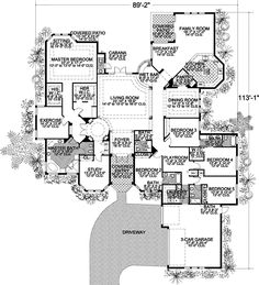 Florida Style House Plans - 5131 Square Foot Home , 1 Story, 5 Bedroom and 4 Bath, 3 Garage Stalls by Monster House Plans - Plan 37-131