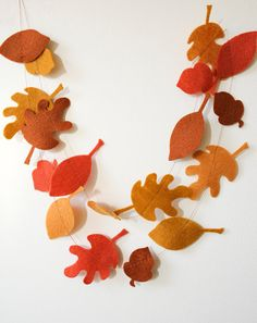 Autumn Leaves & Acorns Felt Garland Fall Decor by JaneeLookerse