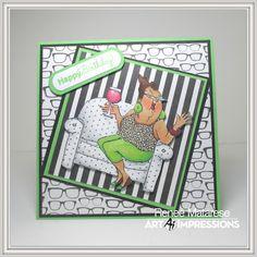 Art Impressions Rubber Stamps: Ai People: Celeste Set (Sku#4326) Handmade wine themed card. birthday