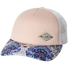 Billabong Dreamer Trucker Cap ($20) ❤ liked on Polyvore featuring accessories, hats, headwear, women, 5-panel hat, peaked cap, billabong hats, floral cap and floral print hat