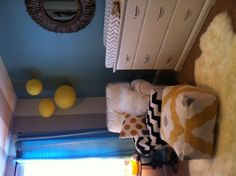 Blue, gray, yellow nursery