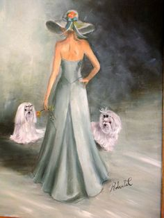 Maltese with Lady Limited Edition Print Dog Art Print with Double Designer Mat | eBay