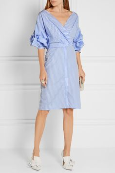 Johanna Ortiz | Tuxedo wrap-effect striped cotton-poplin shirt dress | NET-A-PORTER.COM