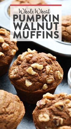 Bread? Or Muffins? How about both! This Healthy Whole Wheat Pumpkin Walnut Bread and Muffins recipe will get you the best of both worlds. They're made with white whole wheat flour, pumpkin puree, warm spices, and walnuts.