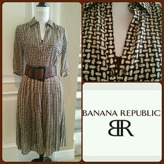 "Banana Republic Dark Brown & Cream Dress Pretty Banana Republic Dark Brown & Cream Dress in a lattice print. 3/4 sleeves. Comes with a brown leather belt and brown camisole slip. 3 buttons in the front. Great dress for work or play. Side hidden zipper. Measures approx 40"" long, waist 13.5"" across not doubled. Stretch very little. Material 54% silk 46% cotton. The bottom part is pleated. Size 2. NWT Banana Republic Dresses Midi"