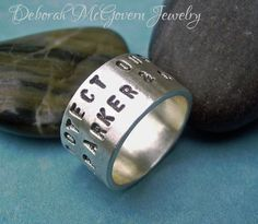 Double Lined wide Ring bohemian modern rustic ring with two lines of handstamped text with names, dates, words of choice - sterling silver thick ring #personalized on #etsy, $59.00