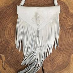 Small leather fringe crossbody purse with your choice of a Clear Quartz Crystal or Concho centerpiece. Hand-braided strap is detachable and there are belt loops on the back making this bag double as a hip satchel. Fringe Crossbody Bag, Fringe Purse, Fringe Bags, Fringe Handbags, Purses And Handbags, Fashion Handbags, Leather Purses, Leather Handbags, Leather Bag