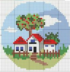 Cross Stitch House, Mini Cross Stitch, Cross Stitch Cards, Cross Stitching, Cross Stitch Embroidery, Cross Stitch Pattern Maker, Cross Stitch Patterns, Needlepoint Patterns, Embroidery Patterns
