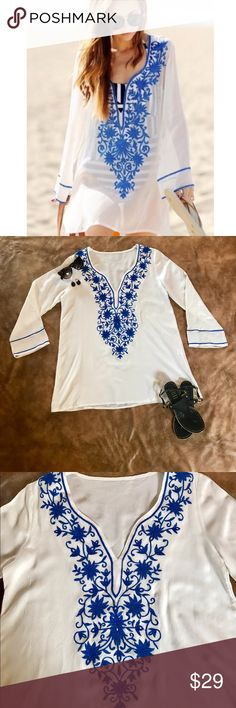 """Embroidered Long sleeve beach cover up Dress Embroidered Long sleeve beach cover up Dress.  This is O/S.  30"""" long and 21"""" from Pit to pit.  ✅ Same or next day shipping ❌ trades ✅ bundle for additional 10% savings Swim Coverups"""