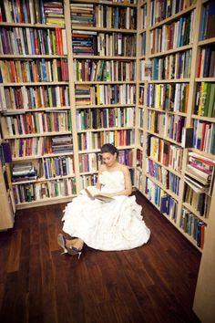 It would be so cute to arrange the books to say something like S + T or the date or I do...