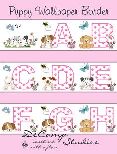 Puppy Alphabet Wallpaper Border Decals for baby girl nursery and children's bedroom decor. Puppies with pink paw print alphabet letters with butterflies, bees, birds, and flowers #decampstudios