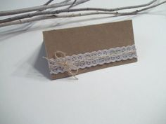 65 Lace Wedding Place cards Shabby Chic Vineyard by CrazyPaperLove, $103.35