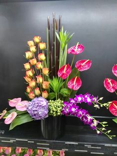 Balance Contemporary Flower Arrangements, Tropical Flower Arrangements, Creative Flower Arrangements, Church Flower Arrangements, Church Flowers, Beautiful Flower Arrangements, Flowers Garden, Indoor Flowers, Spring Flowers