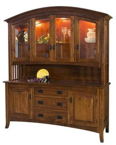 The stylish and attractive Amish Cambria Mission Hutch will brighten up your dining room and bring a comfy and complete feel to your home. The solid wood grain pattern complements the whole piece perfectly bringing together every aspect of this brilliantly crafted hutch.