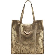 Neiman Marcus Metallic Faux-Leather Tote Bag (958.955 IDR) ❤ liked on Polyvore featuring bags, handbags, tote bags, bronze, tote purses, zip tote bag, metallic tote bag, metallic tote and tote handbags