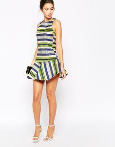 True Decadence Stripe Jaquard Dress with Drop Waist