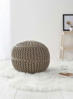 cousos upholstered furniture knitted pouffe - Google Search
