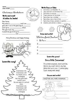 "It's a set of Christmas activities that can be given during the vacations including a song ""O Christmas Tree"", a poem ""I'm a little snowman"", a letter to Santa Claus,Christmas facts - ESL worksheets"