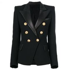 Black/Nude/Off White/Fire Red/Khaki Brown/Navy Blue Double Breasted Gold Button Blazer Cotton Polyester Gold button embellishment Runs small size up NOTE: Shipment takes one week for this item Blazers For Women, Women Blazer, Leather Blazer, Leather Collar, Pu Leather, Look Blazer, Blazer Jacket, Double Breasted Jacket, Professional Outfits