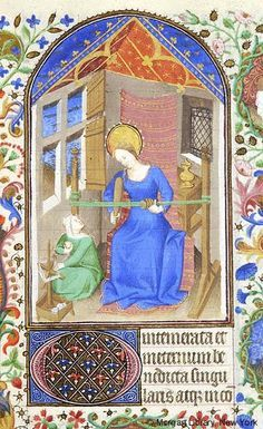 Book of Hours, MS fol. - Images from Medieval and Renaissance Manuscripts - The Morgan Library & Museum Medieval Crafts, Medieval Books, Medieval World, Medieval Manuscript, Medieval Art, Illuminated Manuscript, Voynich Manuscript, Card Weaving, Tablet Weaving