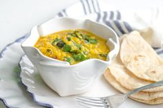 Week of Meal Plan - Recipe: Lentil Dal with Hearty Greens — Recipes from The Kitchn Veggie Recipes, Indian Food Recipes, Real Food Recipes, Dinner Recipes, Cooking Recipes, Healthy Recipes, Ethnic Recipes, Veggie Dinners, Healthy Meals