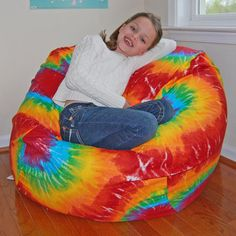 Ahh Products Rainbow Tie Dye Cotton Washable Bean Bag Chair for sale online Family Room Furniture, Kids Furniture, Fuzzy Bean Bag Chair, Bean Chair, Girls Bean Bag, Bean Bag Furniture, Large Bean Bag Chairs, Indie Room, Rainbow Print