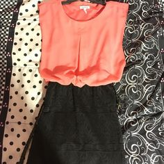 Pink and black mini dress Only worn once. lose up top and fits like a tight skirt on the bottom! come down right about knees. Charlotte Russe Dresses Mini
