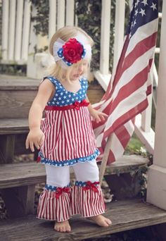 Precious! Girls 4th of July Outfit 2 Piece Set for $39.99 Happy Fourth of July!