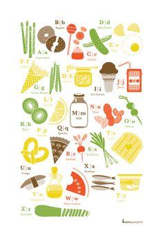 "Cute kitchen print! Food Alphabet - 16""x24"" Print. $46.00, via Etsy."