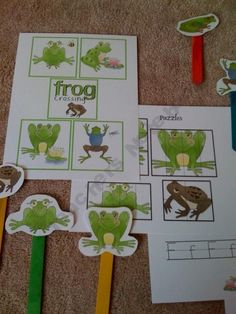 pinterest preschool ponds | Frog Crossing free preschool pack