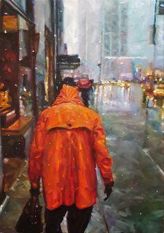 Artist by Zoltan Suhaj. New York Rain, Cool Sketches, Fine Art, Canvas, Drawings, Illustration, Artist, Painting, Oil