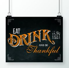 Eat Drink and be Thankful Holiday Art Print. by SimonandKabuki