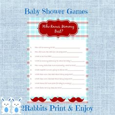 Little Man Baby Shower Game Who Knows Mommy Best- Mustache Baby Shower Who Knows Mommy Best Game-Instant Download - Questions about Mommy #mustachbabyshower #littlemanbabyshower #whoknowsmommybestgame #whoknowsmommyquestions #diybabyshower #diyprintablegames