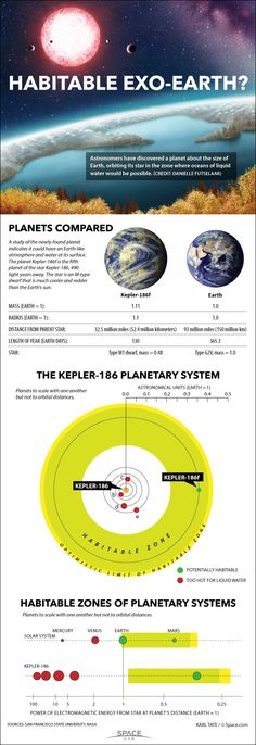 The rocky alien planet Kepler 186f is an Earth-size world that could have liquid water on its surface, and possibly even life. It orbits a star 490 light-years away. - Credit:  Karl Tate, Infographics Artist