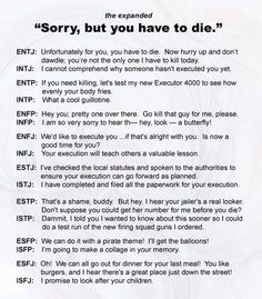 """""""Sorry, but you have to die."""" personality types. This made me LOL"""