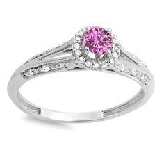 Elora 14k White Gold 2/5ct TGW Round Pink Sapphire and White Diamond Bridal Ring (H-I, I1-I2) (White Gold - Size 8.5), Women's