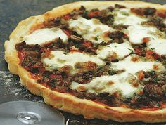 """Ground Beef and """"Swiss Cheese"""" Pizza.  Yes, it's kosher!"""