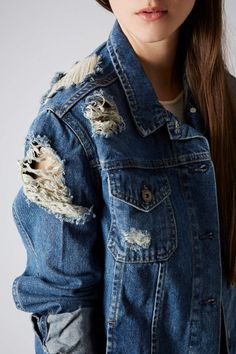 ♥ #blue ☮ #jeans ☮ ripped denim jacket