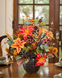 Lily, Croton & Berries<br>Silk Flower Centerpiece