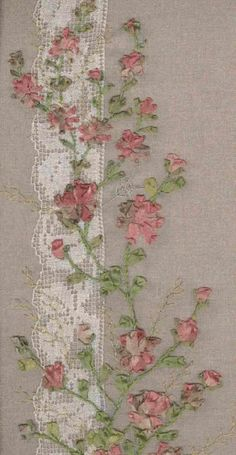 "Silk Ribbon Embroidery over lace...This would be a pretty way to ""mend"" vintage linens..."