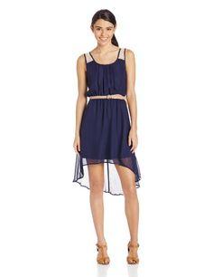As U Wish Women's Hi Lo Hem Dress with Lace Back and Belt, Navy, Medium As U