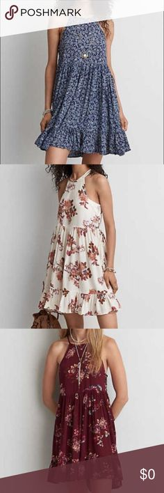 ISO!! AEO Tie Side Babydoll Dress Looking for this dress in any of the 3 colors but would love to find the white one! Came out summer 2016 from American eagle. A Babydoll style dress with a high neck and tie sides. Looking for size M American Eagle Outfitters Dresses