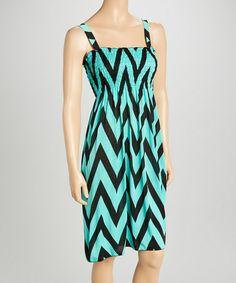 Loving this Mint & Black Zigzag Smocked Dress on #zulily! #zulilyfinds