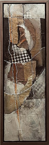 """Bending the Rules, 041518 by Carol Nelson mixed media ~ 36 x 12-Mixed Media Abstract Collage Painting, """"Bending the Rules"""" by Carol Nelson Fine Art"""