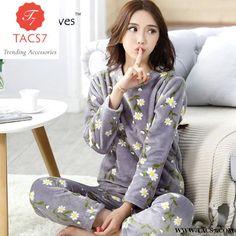 5291e178b2 Winter Thick Flannel Pajamas Warm Sleepwear Set Pajamas Women