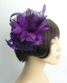 Purple-All-Feather-Double-Flower-Hair-Fascinator-detachable-Ultra-Slim-Headband