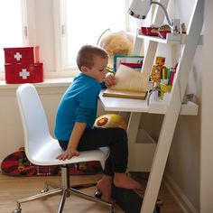 midnight blue...Kids' Desk: Kids White Leaning Wall Desk in Desks & Chairs | The Land of Nod