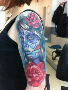 Love this! It's somewhat like the one I want on my shoulder (girl looking to the side with rose in hair).
