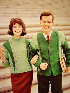 Darling 1960s Campus Sweater Couple.